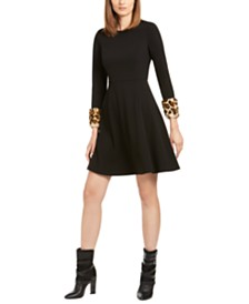 Calvin Klein Petite Animal-Print Cuff Fit & Flare Dress