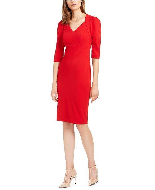 Calvin Klein Elbow-Sleeve Sheath Dress
