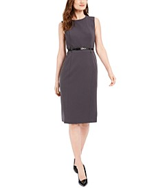 Belted Sleeveless Sheath Dress