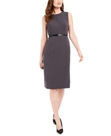 Calvin Klein Belted Sleeveless Sheath Dress
