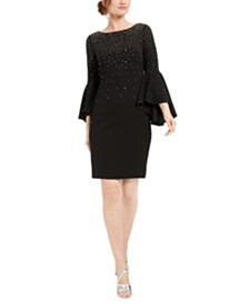 Calvin Klein Embellished Bell-Sleeve Sheath Dress