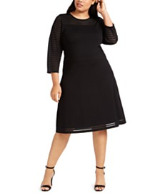 Calvin Klein Plus Size Illusion-Dot Sweater Dress