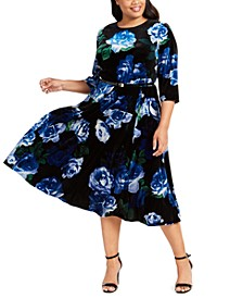 Plus Size Floral-Print Velvet Dress