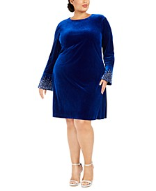 Plus Size Bling Bell-Sleeve Velvet Dress