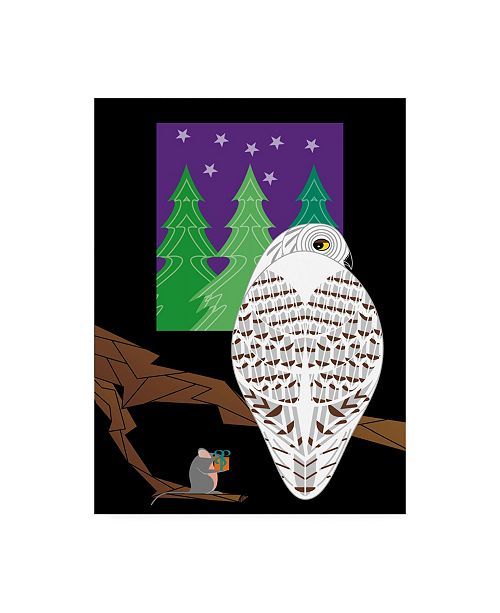 "Trademark Global Marie Sansone Snowy Owl on the Right Canvas Art - 15"" x 20"""