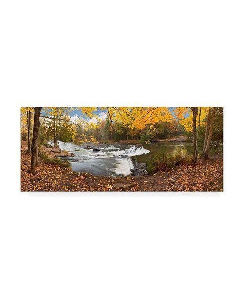 "Trademark Global Monte Nagler Bond Falls in Autumn Panorama Bruce Crossing Michigan Color Canvas Art - 37"" x 49"""