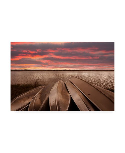 "Trademark Global Monte Nagler Five Boats at Sunset Interlochen Michigan Color Canvas Art - 15"" x 20"""