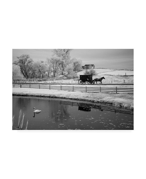 "Trademark Global Monte Nagler Buggy and Pond Shipshewana Indiana Canvas Art - 20"" x 25"""