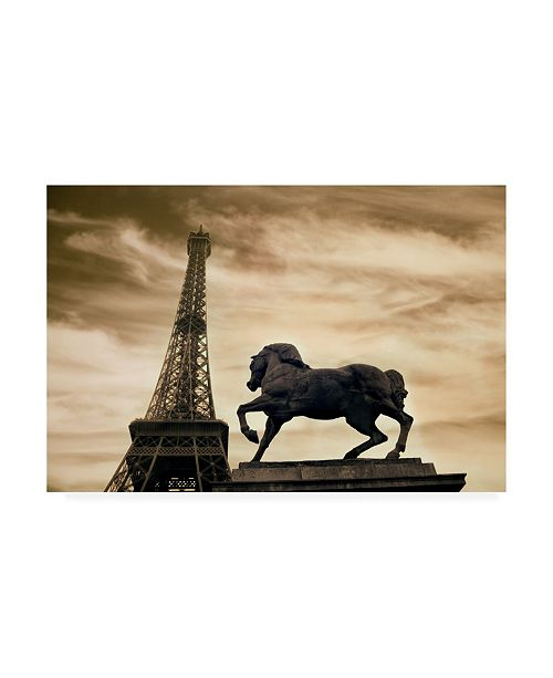 "Trademark Global Monte Nagler Eiffel Tower and Statue Paris France Monotint Canvas Art - 15"" x 20"""