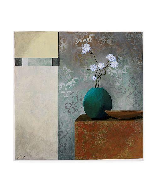 "Trademark Global Pablo Esteban Tall Branch Flowers in Blue 1 Canvas Art - 19.5"" x 26"""