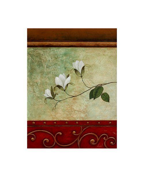 "Trademark Global Pablo Esteban White Flower Green Abstract 2 Canvas Art - 19.5"" x 26"""