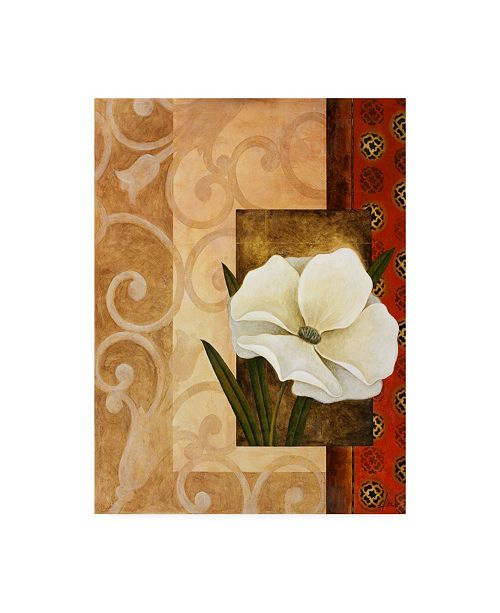 "Trademark Global Pablo Esteban White Floral Beige 1 Canvas Art - 19.5"" x 26"""