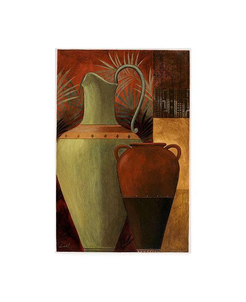 "Trademark Global Pablo Esteban Vase Over Geometric Background 2 Canvas Art - 36.5"" x 48"""