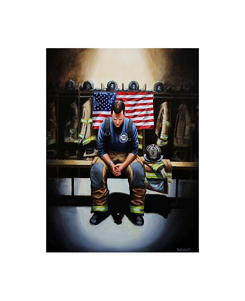 "Trademark Global Paul Walsh Praying Firefighter Canvas Art - 36.5"" x 48"""
