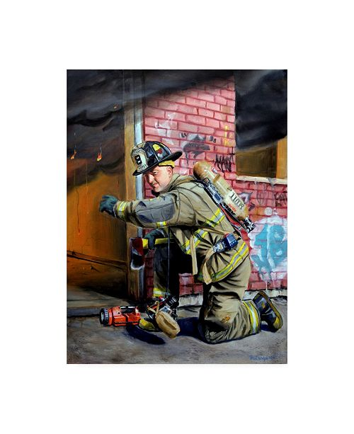 "Trademark Global Paul Walsh Lets Go Fire Fighter Canvas Art - 19.5"" x 26"""