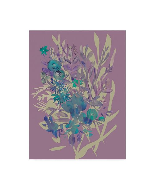 "Trademark Global Chariklia Zarris Slate Flowers on Mauve I Canvas Art - 15.5"" x 21"""