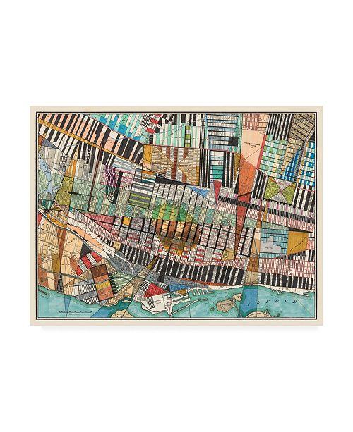 "Trademark Global Nikki Galapon Modern Map of Montreal Canvas Art - 15.5"" x 21"""