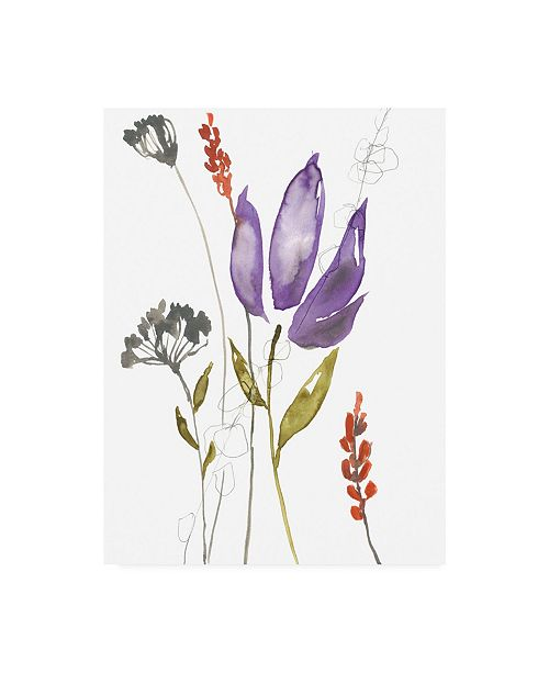 "Trademark Global Jennifer Goldberger Ultraviolet Bouquet I Canvas Art - 15.5"" x 21"""