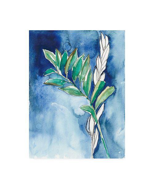 "Trademark Global Jennifer Goldberger Petiole on Indigo II Canvas Art - 15.5"" x 21"""