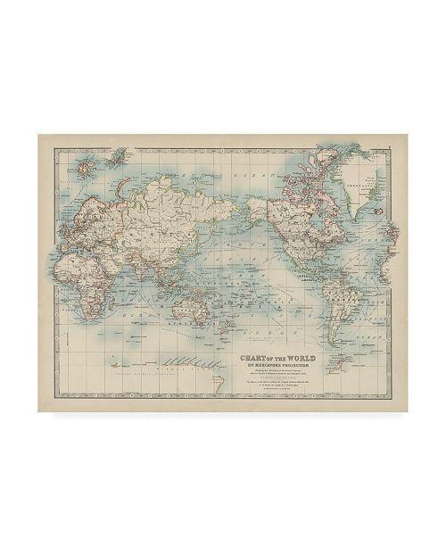 "Trademark Global Johnston Johnstons Chart of the World Canvas Art - 27"" x 33.5"""