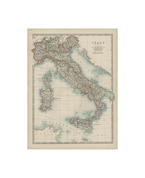 "Trademark Global Johnston Johnstons Map of Italy Canvas Art - 27"" x 33.5"""
