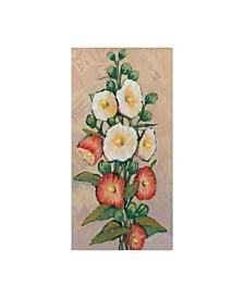 """Tim Otoole Red Hollyhocks I Canvas Art - 37"""" x 49"""""""