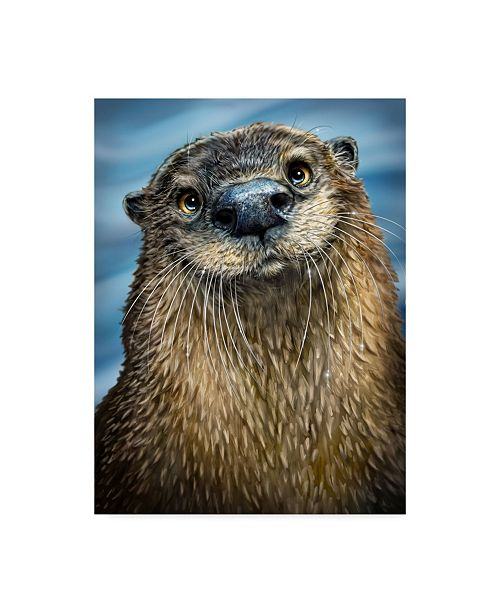 "Trademark Global Patrick Lamontagne River Otter Illustration Canvas Art - 15"" x 20"""