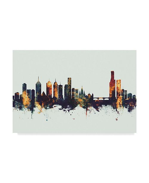 "Trademark Global Michael Tompsett Melbourne Australia Skyline IV Canvas Art - 20"" x 25"""
