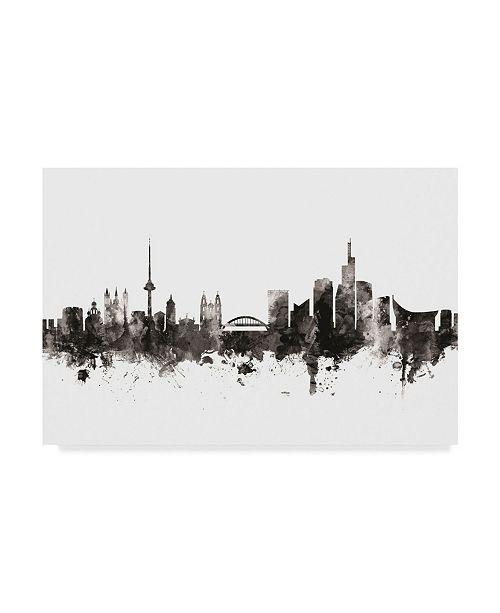 """Trademark Global Michael Tompsett Vilnius Lithuania Skyline Black White Canvas Art - 20"""" x 25"""""""