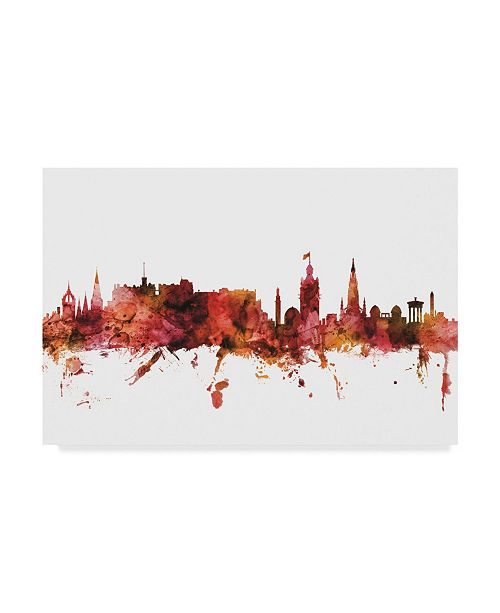 "Trademark Global Michael Tompsett Edinburgh Scotland Skyline Red II Canvas Art - 20"" x 25"""