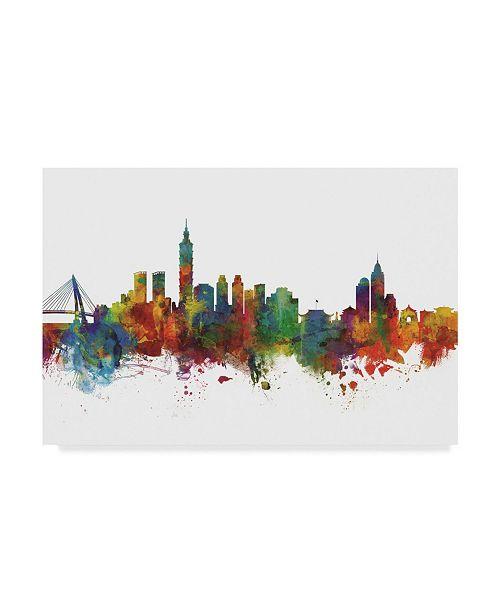"""Trademark Global Michael Tompsett Taipei Taiwan Skyline II Canvas Art - 20"""" x 25"""""""