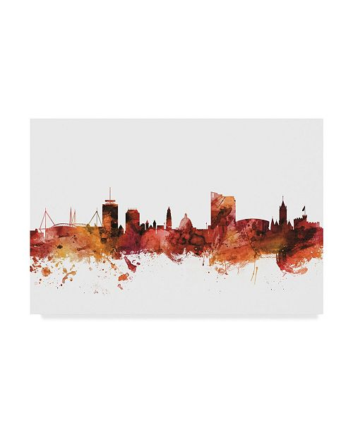 "Trademark Global Michael Tompsett Cardiff Wales Skyline Red Canvas Art - 37"" x 49"""