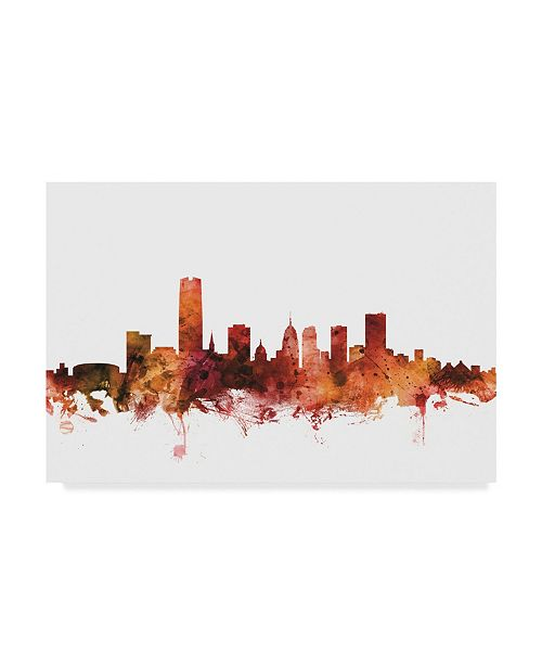 "Trademark Global Michael Tompsett Oklahoma City Skyline Red Canvas Art - 20"" x 25"""