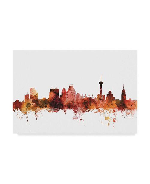 "Trademark Global Michael Tompsett San Antonio Texas Skyline Red Canvas Art - 20"" x 25"""