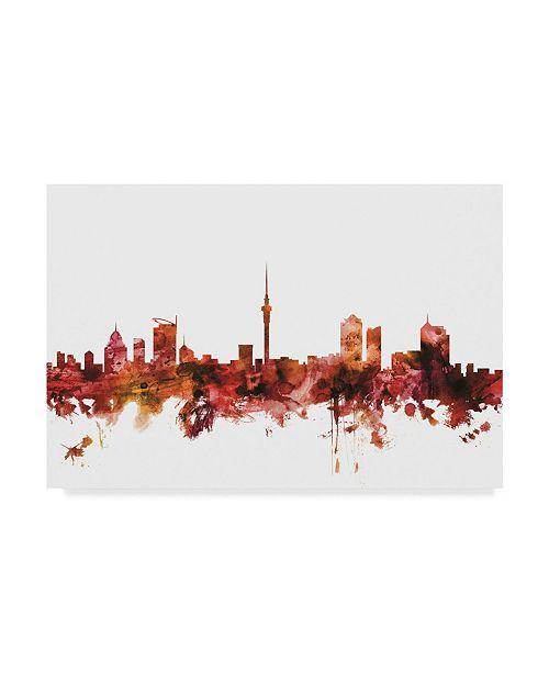 """Trademark Global Michael Tompsett Auckland New Zealand Skyline Red Canvas Art - 20"""" x 25"""""""