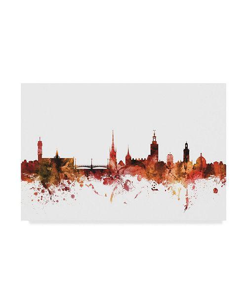 """Trademark Global Michael Tompsett Stockholm Sweden Skyline Red Canvas Art - 20"""" x 25"""""""