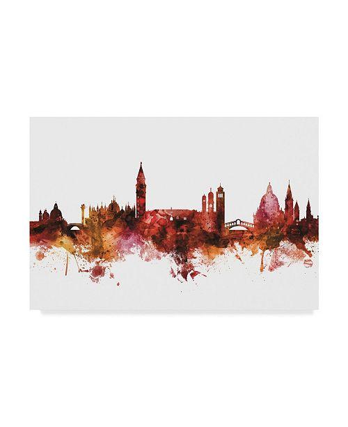 "Trademark Global Michael Tompsett Venice Italy Skyline Red Canvas Art - 15"" x 20"""