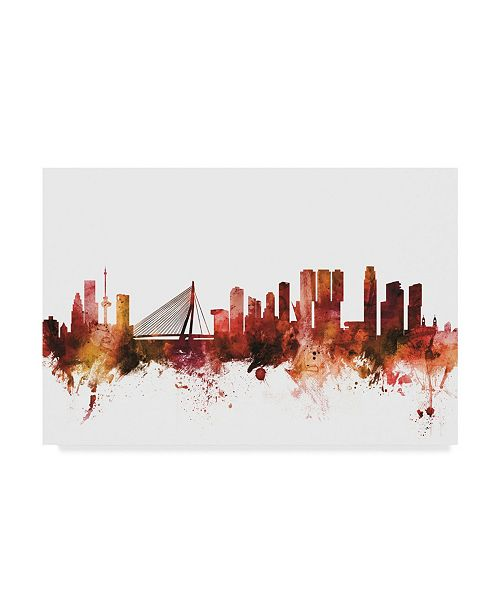 "Trademark Global Michael Tompsett Rotterdam the Netherlands Skyline Red Canvas Art - 20"" x 25"""