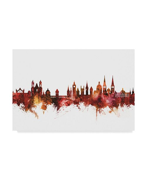"Trademark Global Michael Tompsett Lucerne Switzerland Luzern Skyline Red Canvas Art - 20"" x 25"""