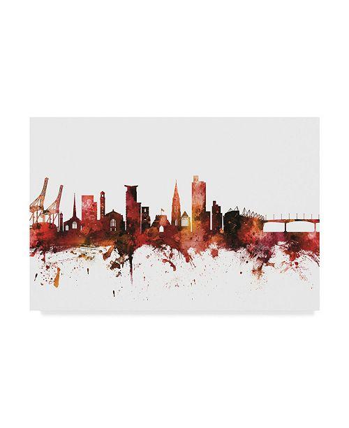 "Trademark Global Michael Tompsett Southampton England Skyline Red Canvas Art - 20"" x 25"""