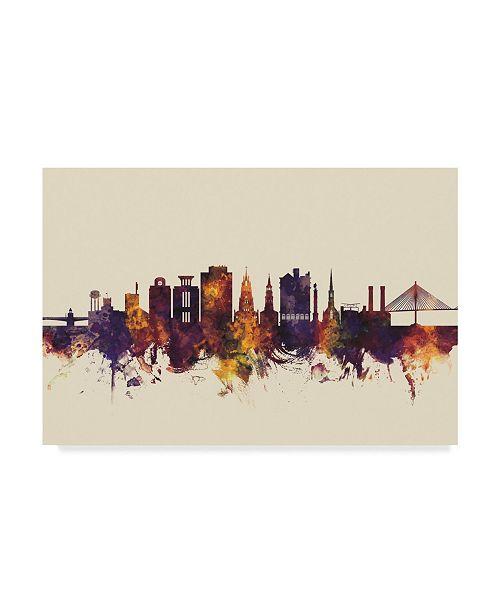 "Trademark Global Michael Tompsett Charleston South Carolina Skyline III Canvas Art - 15"" x 20"""