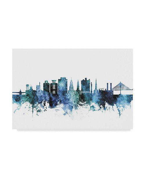 "Trademark Global Michael Tompsett Charleston South Carolina Skyline Blue Canvas Art - 20"" x 25"""