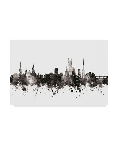 "Trademark Global Michael Tompsett Worcester England Skyline Black White Canvas Art - 15"" x 20"""
