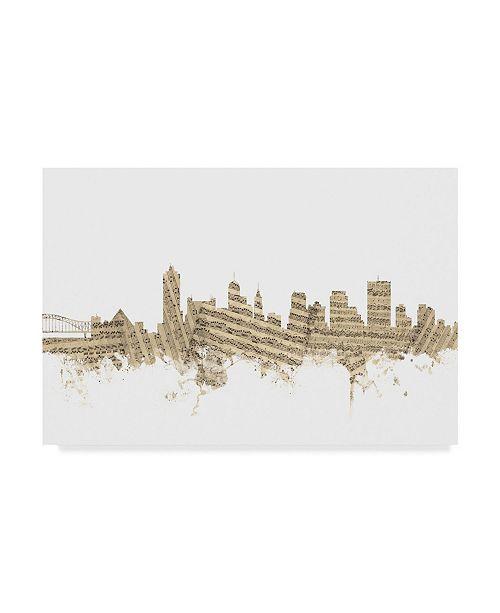 "Trademark Global Michael Tompsett Memphis Tennessee Skyline II Canvas Art - 37"" x 49"""