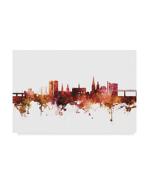 """Trademark Global Michael Tompsett Dundee Scotland Skyline Red Canvas Art - 15"""" x 20"""""""