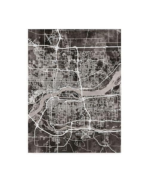 "Trademark Global Michael Tompsett Quad Cities Street Map Black Canvas Art - 20"" x 25"""