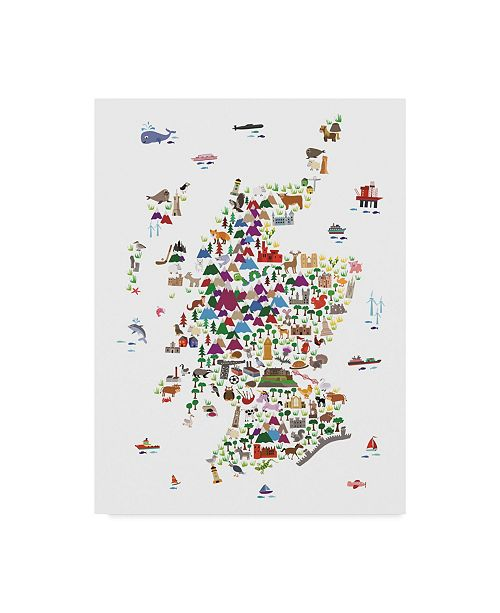 "Trademark Global Michael Tompsett Animal Map of Scotland For Children and Kids Canvas Art - 37"" x 49"""