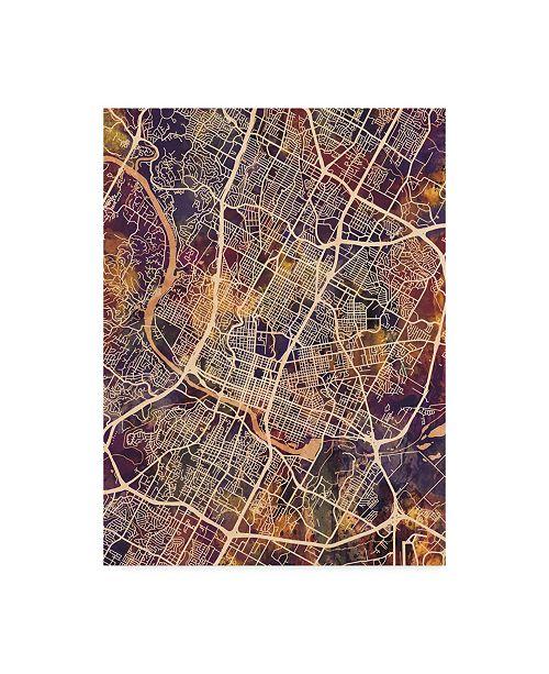 "Trademark Global Michael Tompsett Austin Texas City Map II Canvas Art - 20"" x 25"""