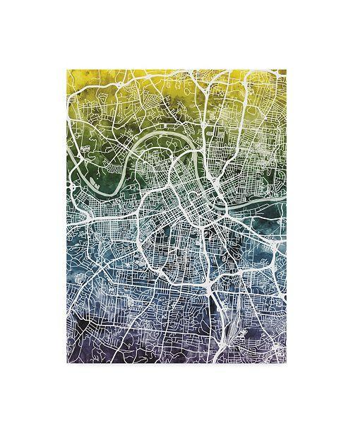 "Trademark Global Michael Tompsett Nashville Tennessee City Map Blue Yellow Canvas Art - 15"" x 20"""