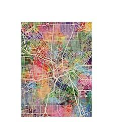 "Michael Tompsett Dallas Texas City Map Canvas Art - 37"" x 49"""